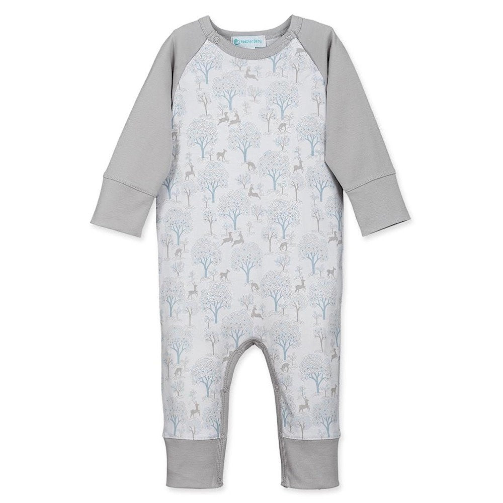 Feather Baby Sailor Sleeve Romper - Deer & Appletrees on White