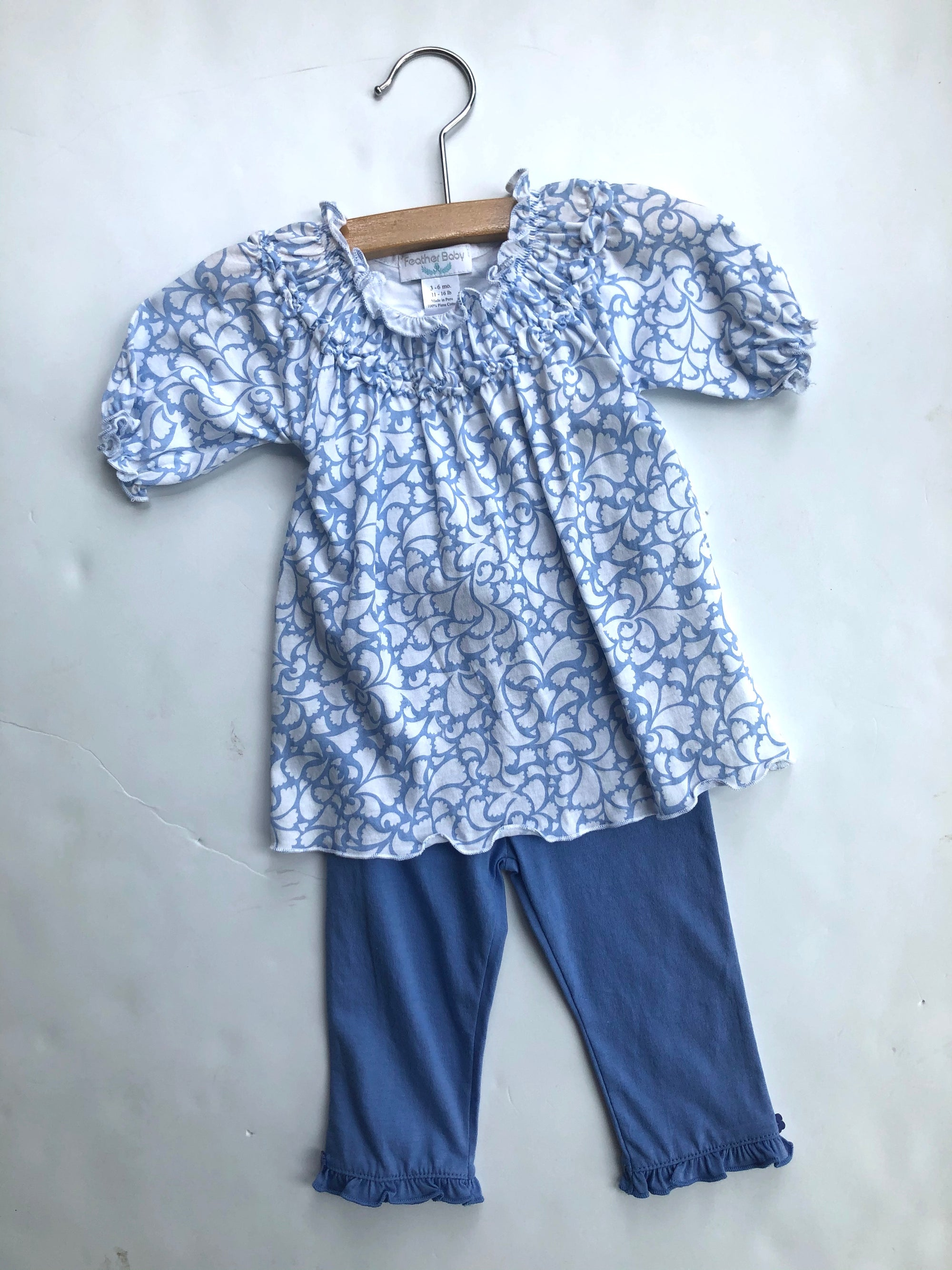 Feather Baby Ruched Tunic & Pant Set - Periwinkle Blue on White