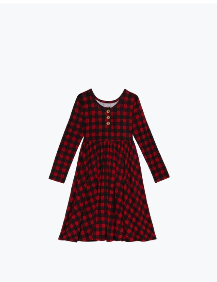 Posh Peanut Grayson Plaid Long Sleeve Henley Twirl Dress