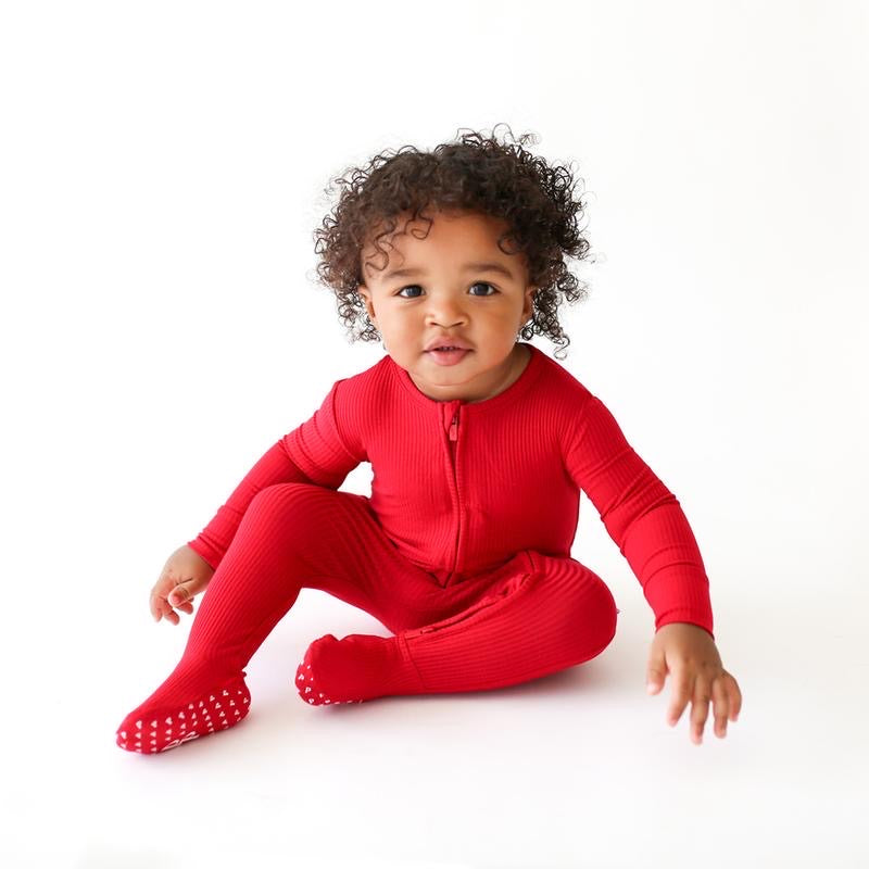 Posh Peanut Footie Zippered One Piece - Crimson