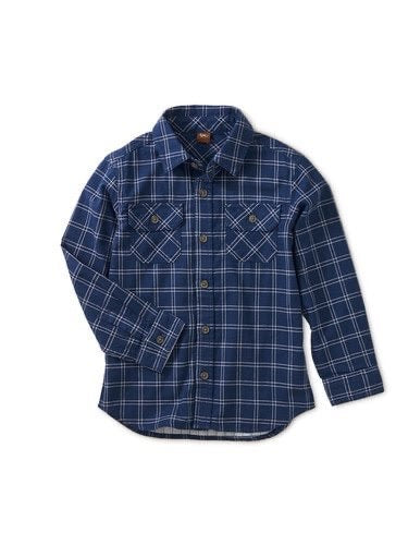 Tea Collection Annapurna Plaid Button Up Double Weave Long Sleeve Shirt
