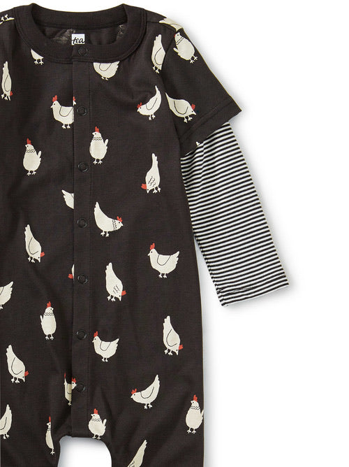 Tea Collection Printed Button-Up Romper - Cheery Chickens