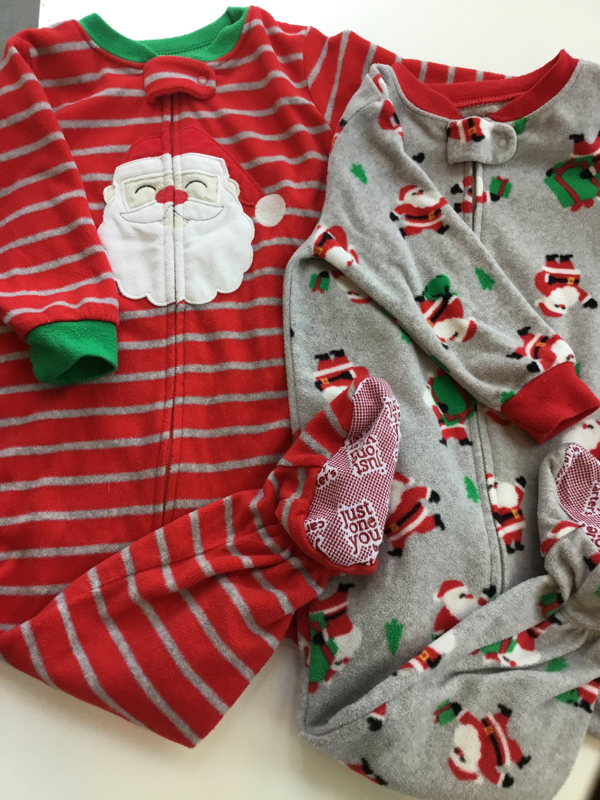 Resale 18 m Carter's Striped Santa Footed Pajamas 2pc Set