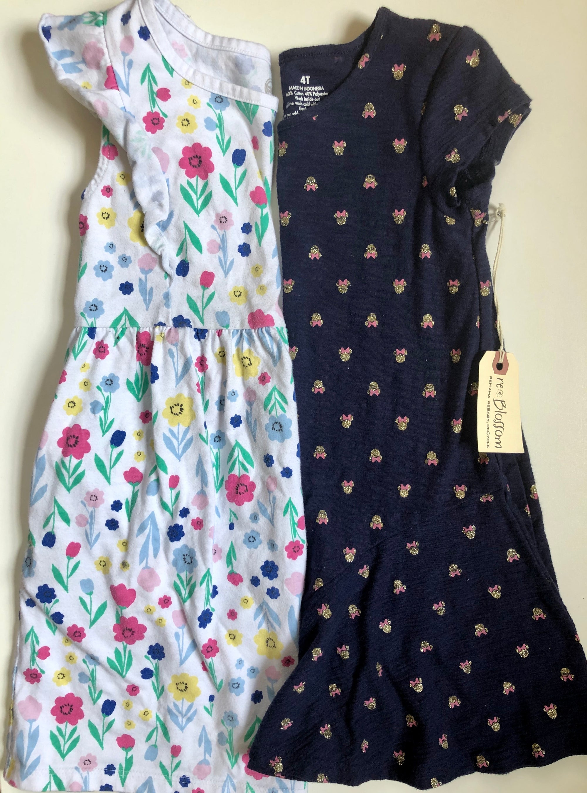 Resale 5T Wonder Nation Floral & 4T Disney Minnie Dress Set