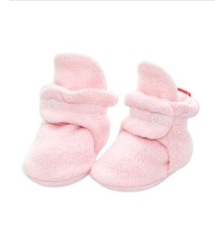 Zutano Cozie Fleece Booties - Light Pink