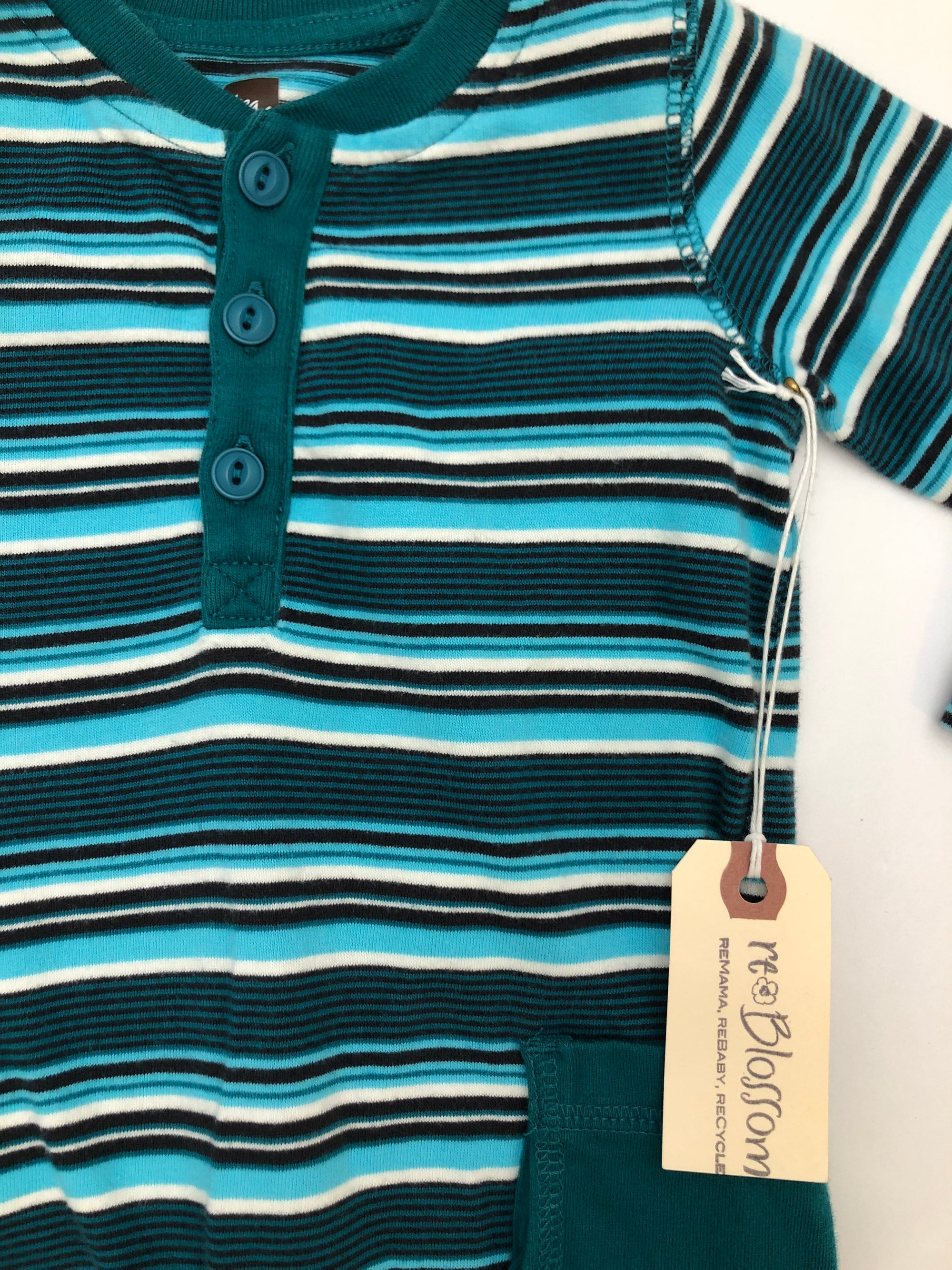 Resale 6-9 months Tea Collection Teal Striped Romper
