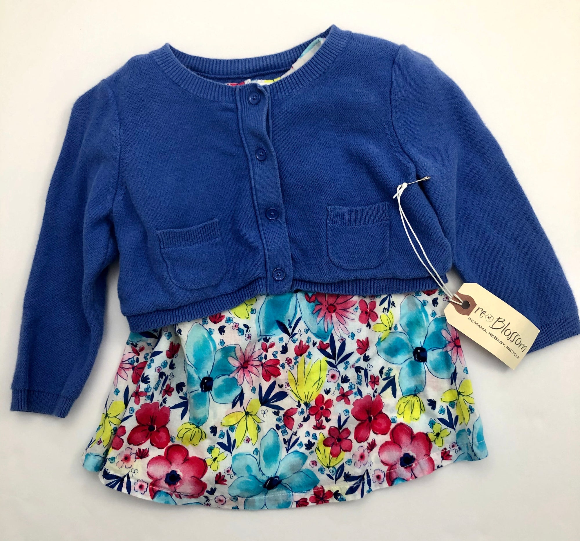 Resale 6-12 m Gap Periwinkle Cardigan & 6-9 m First Impressions Floral Dress Set