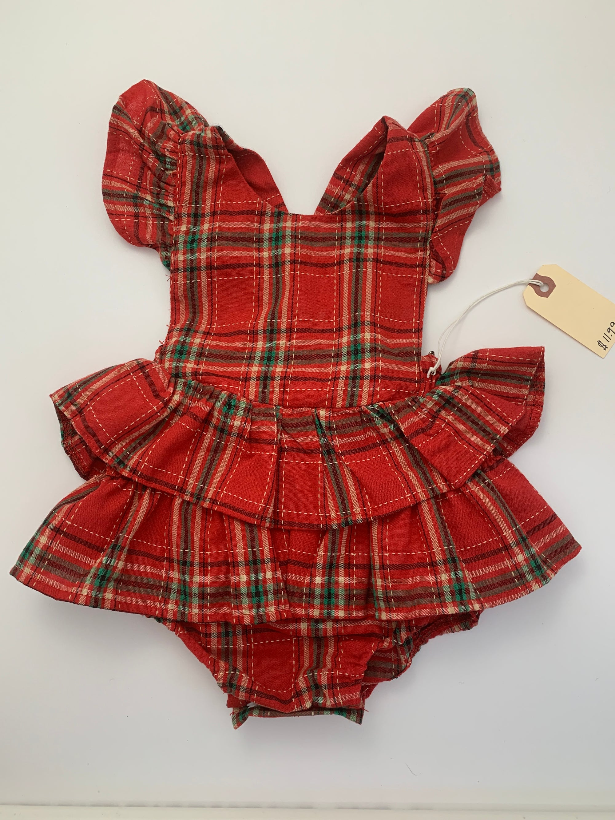 Resale 12-18m Red & Green Plaid Ruffle Crossback Romper & Headband