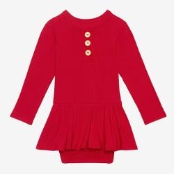 Posh Peanut Long Sleeve Henley with Twirl Skirt Bodysuit - Crimson