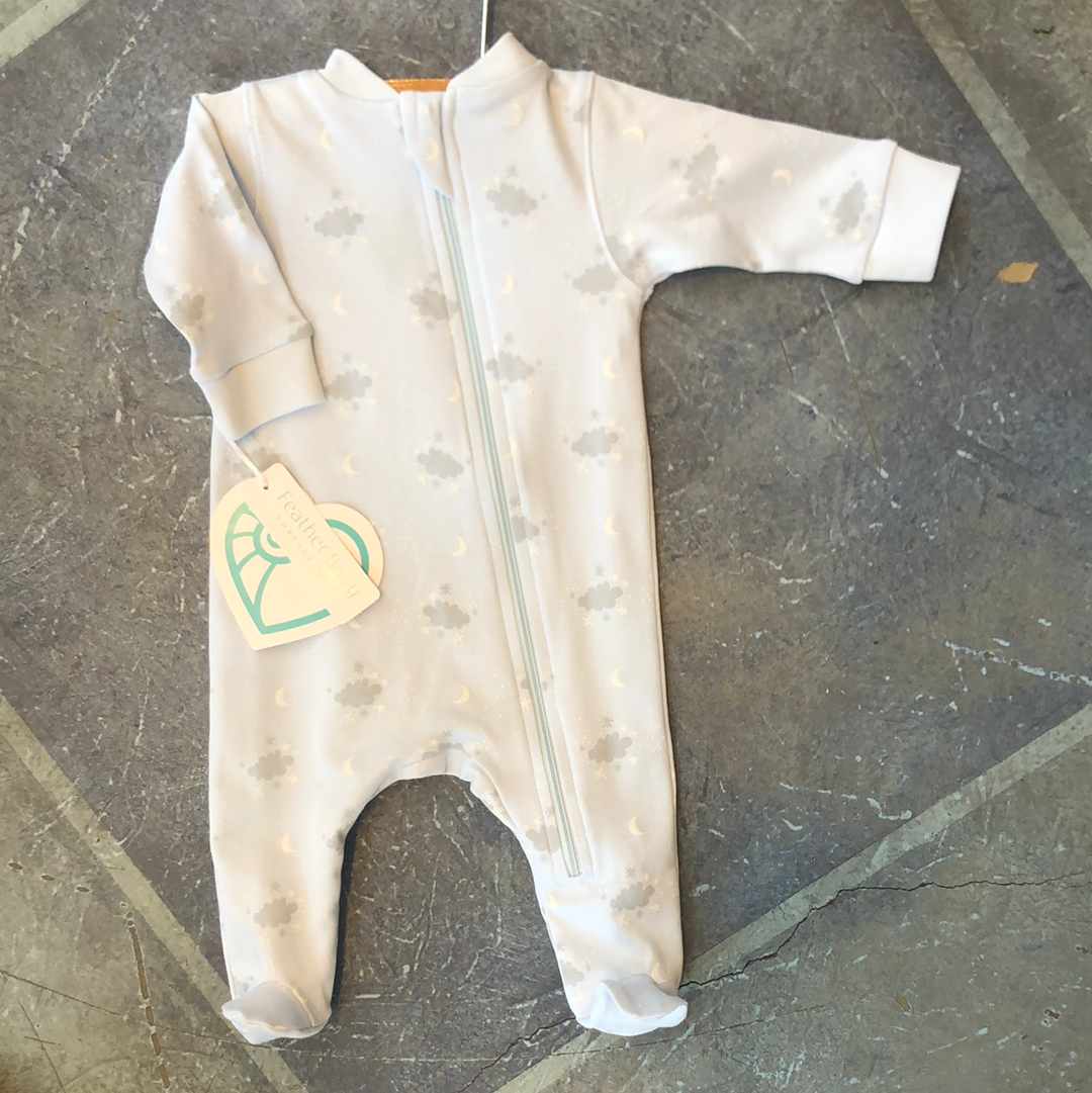 Feather Baby Zipper Footie - Night Sky