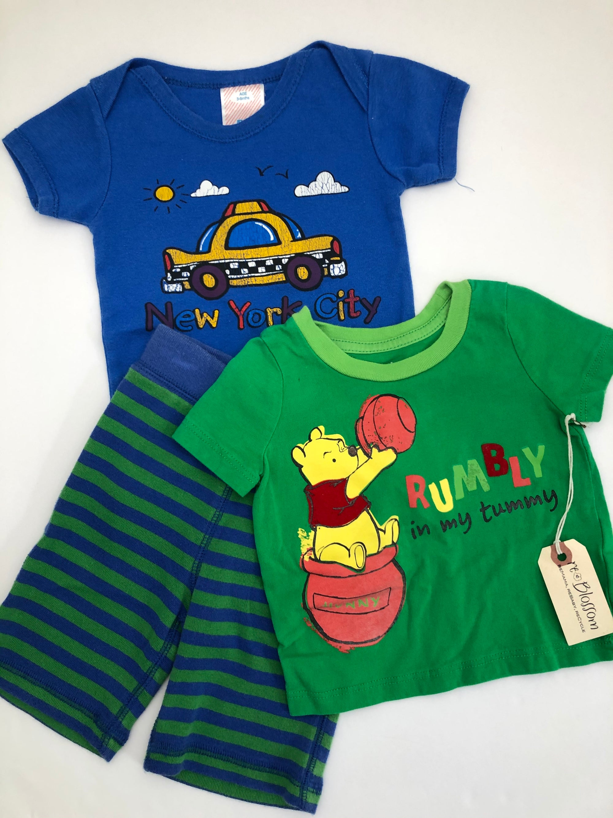 Resale 3-6 m Hanna Andersson Striped Pants Snowy, Winnie the Pooh Shirt, and New York City Bodysuit