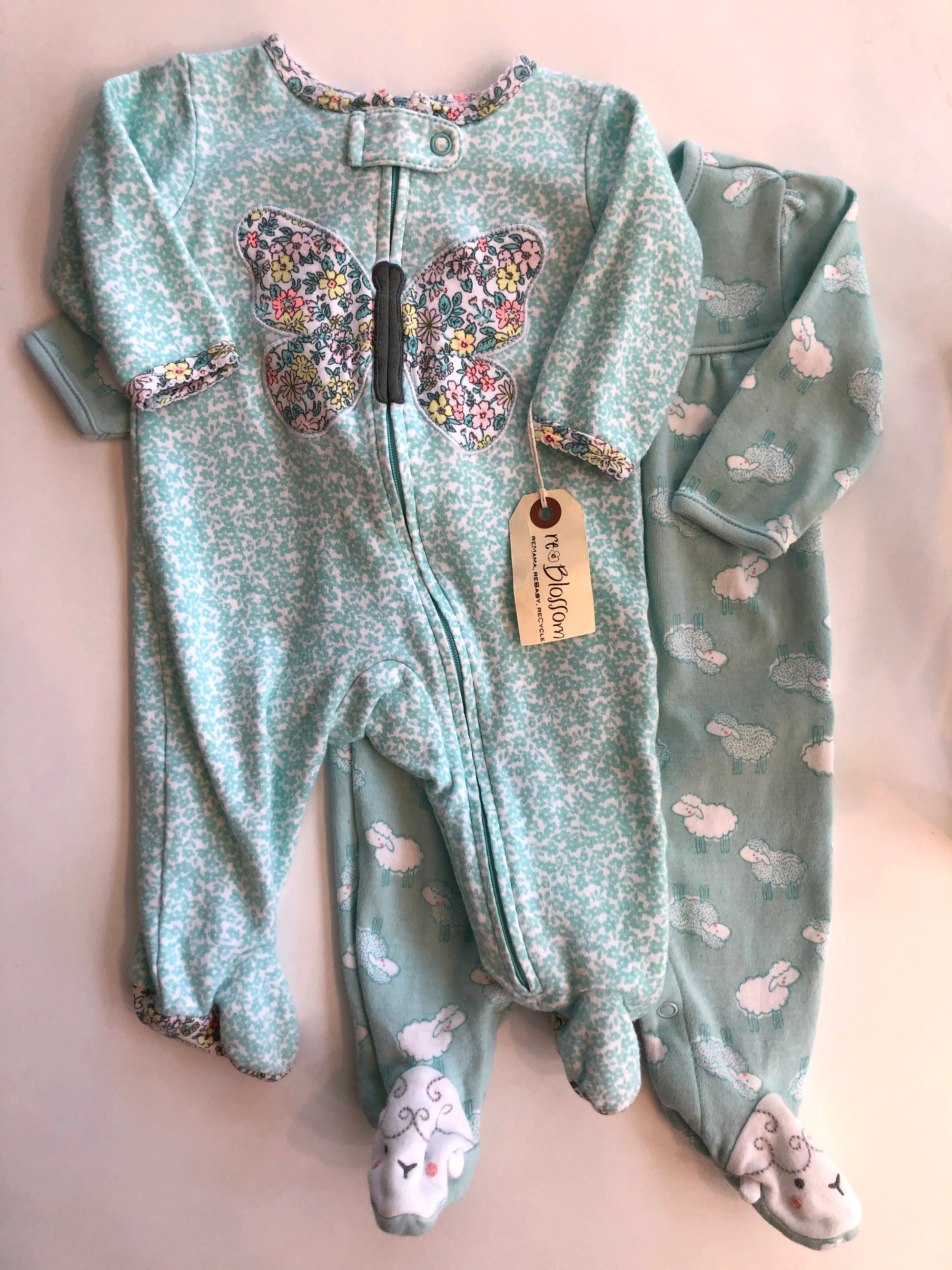 Resale 3 m Carter's Turquoise Butterfly & Sheep Pajams - Set of 2