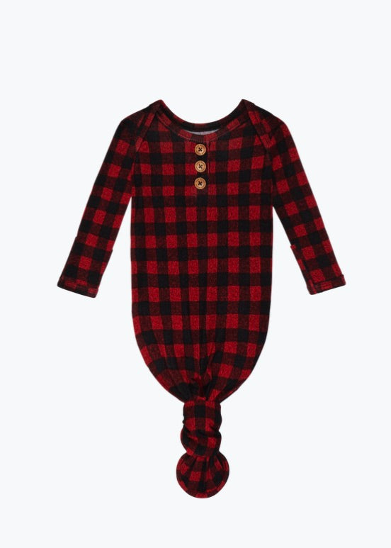 Posh Peanut Grayson Plaid Long Sleeve Knotted Baby Gown