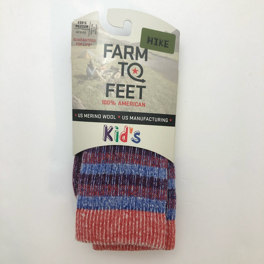 Farm to Feet Kids U.S. Merino Wool Hiking Socks - Red Blue Stripe