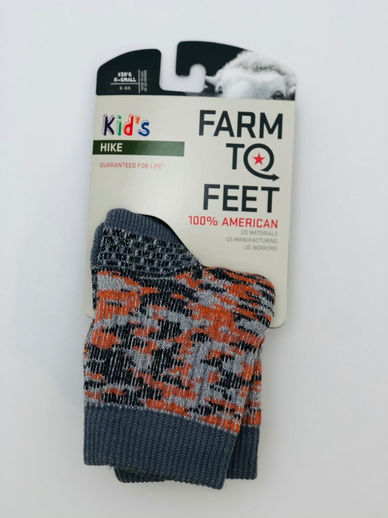 Farm to Feet Kids U.S. Merino Wool Hiking Socks - Orange Multi