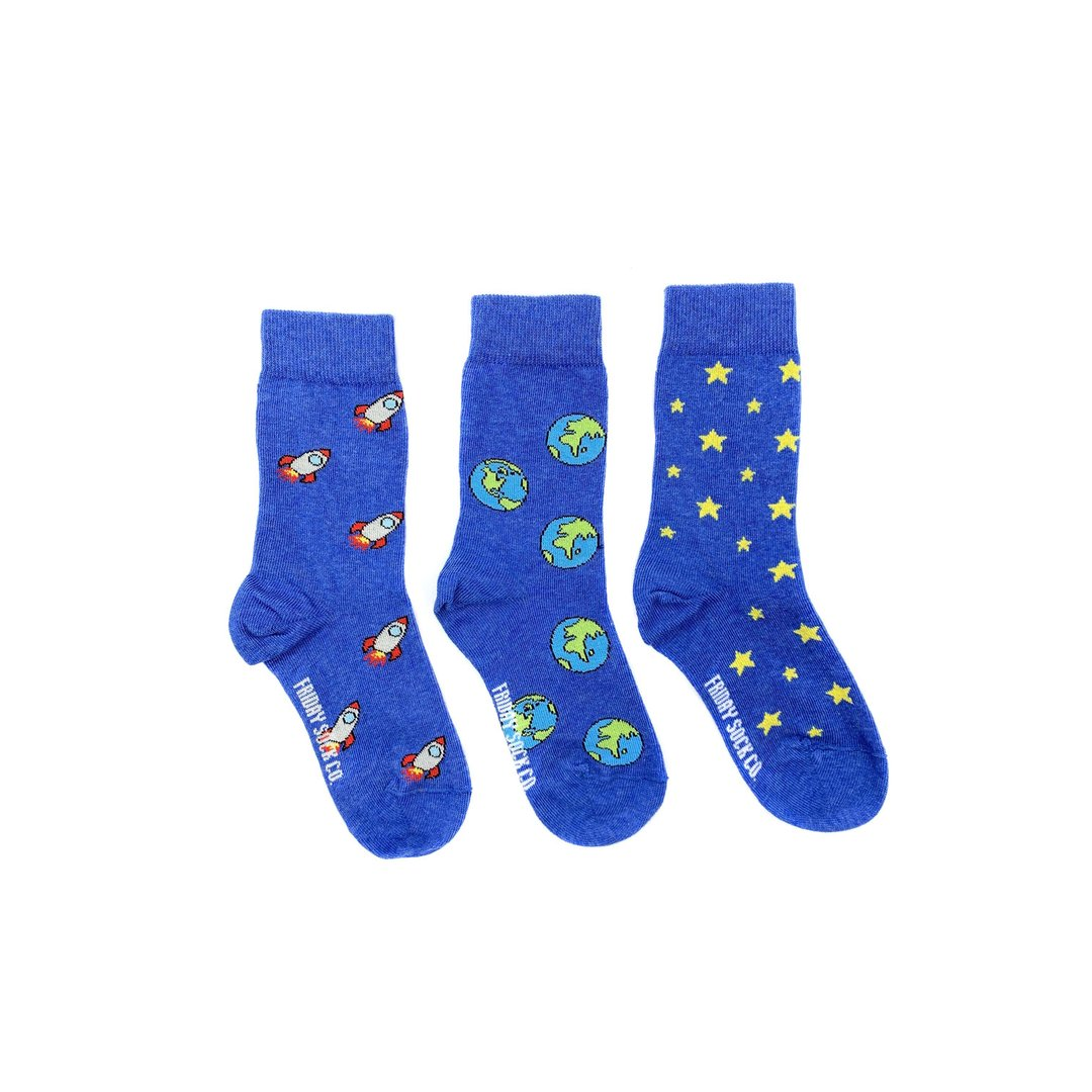 Friday Sock Co. Kid's Socks | Earth, Rocket, & Star | Mismatched