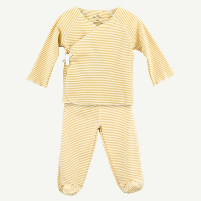 Oliver & Rain Gold Mini Stripe 2-Piece Kimono Set