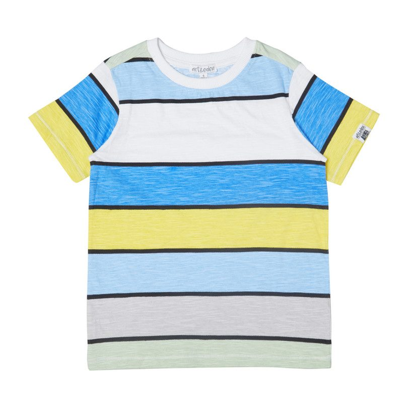 Art & Eden Organic Cotton Bobby T-Shirt - Bright Stripe Yellow Blue