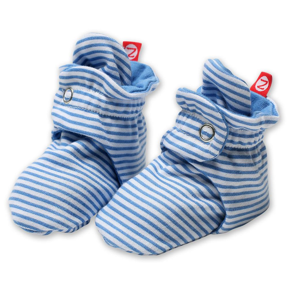 Zutano Cotton Booties - Candy Stripe Periwinkle