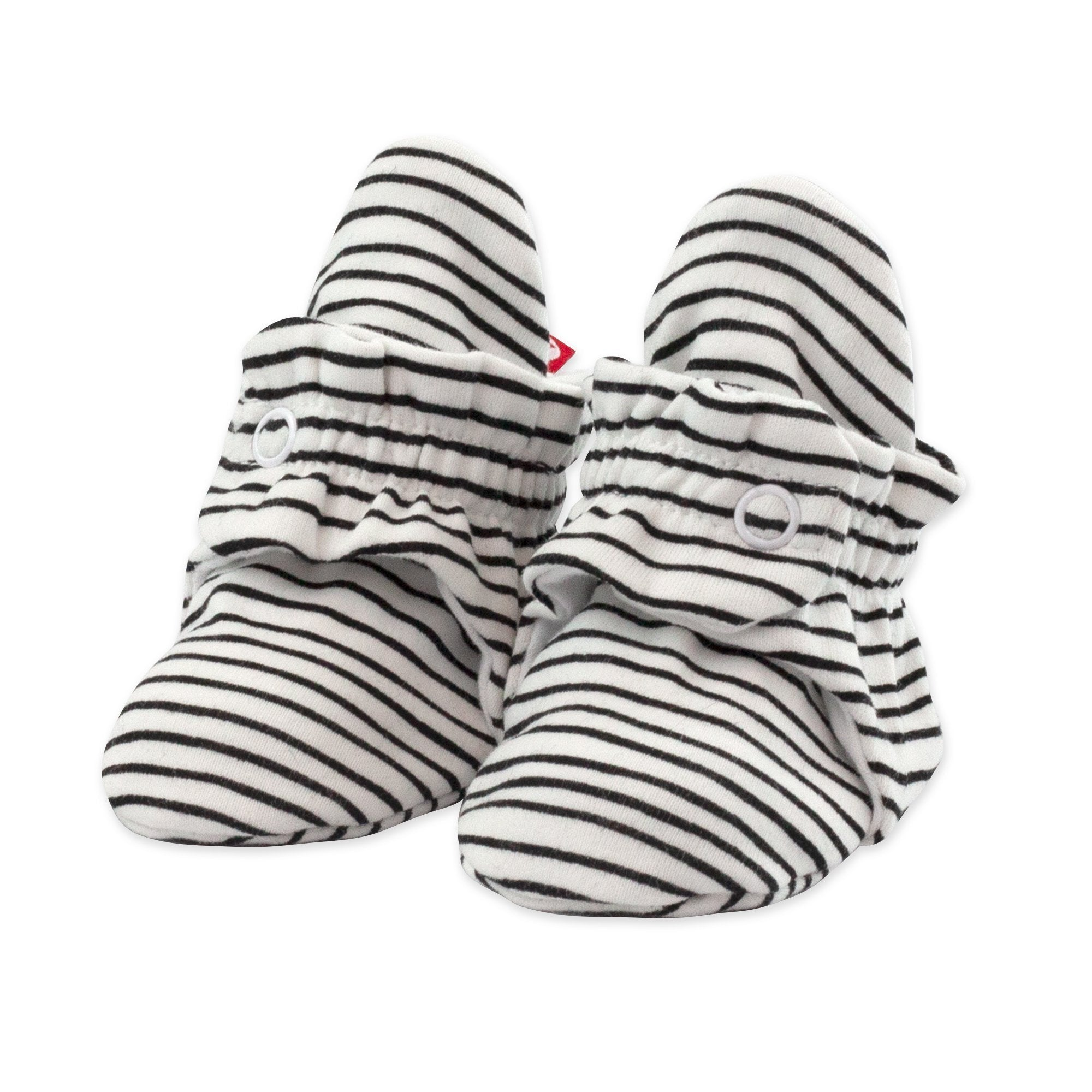 Zutano Organic Cotton Booties - Black Pencil Stripe