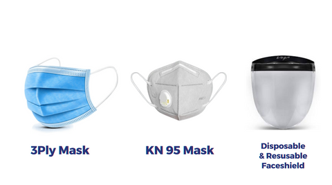 types of masks available in Chennai. 3 ply mask, KN95 Masks, face shield at best price in Chennai