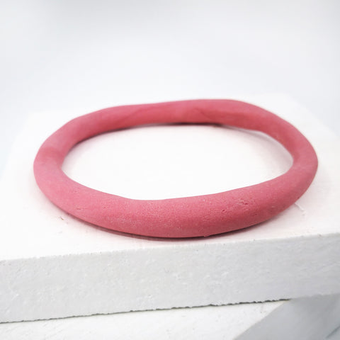 Porcelain bangle organic and dark pink by Angela Francis