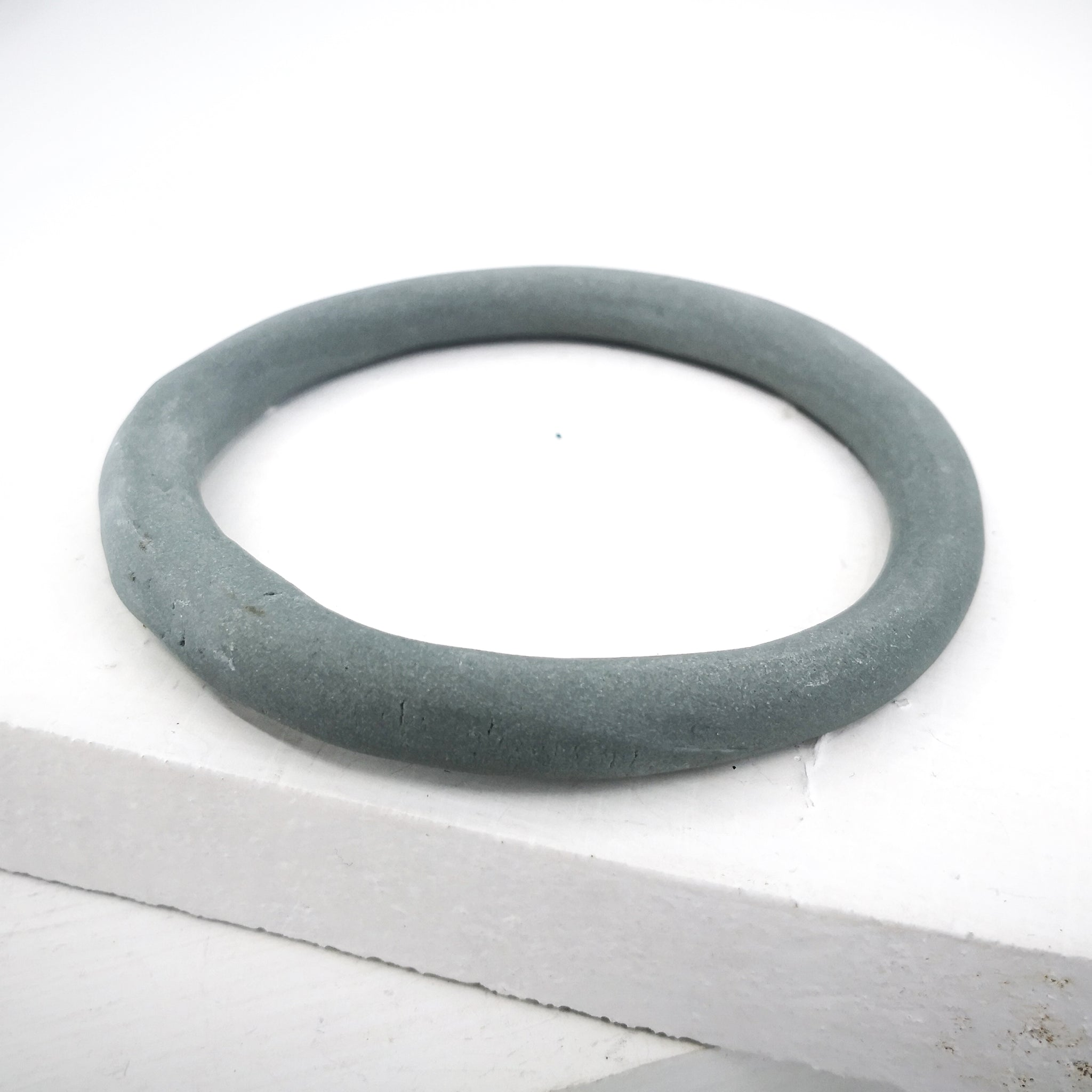 Porcelain bangle organic and light grey by Angela Francis