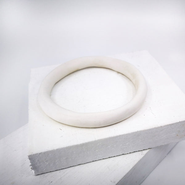 Porcelain bangle in white by Angela Francis