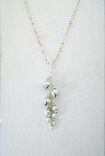 Lily of the Valley cluster necklace by Adele Stewart.  Fine silver and enamel.