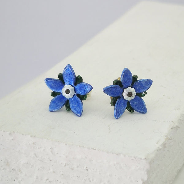 Starflower Borage Studs in Silver with Blue and Green enamel, by Adele Stewart.