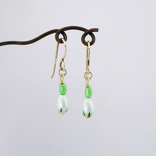 Snowdrop Earrings in enamel and silver by Adele Stewart.