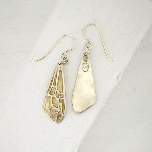 Sterling silver Bumble-Bee Wing earrings made in NZ by Adele Stewart.