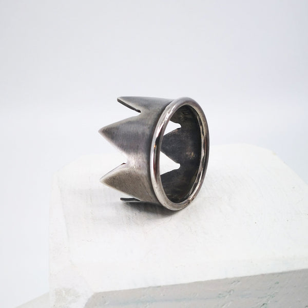 Crown Ring - Large - Oxidised Silver by Buster Collins
