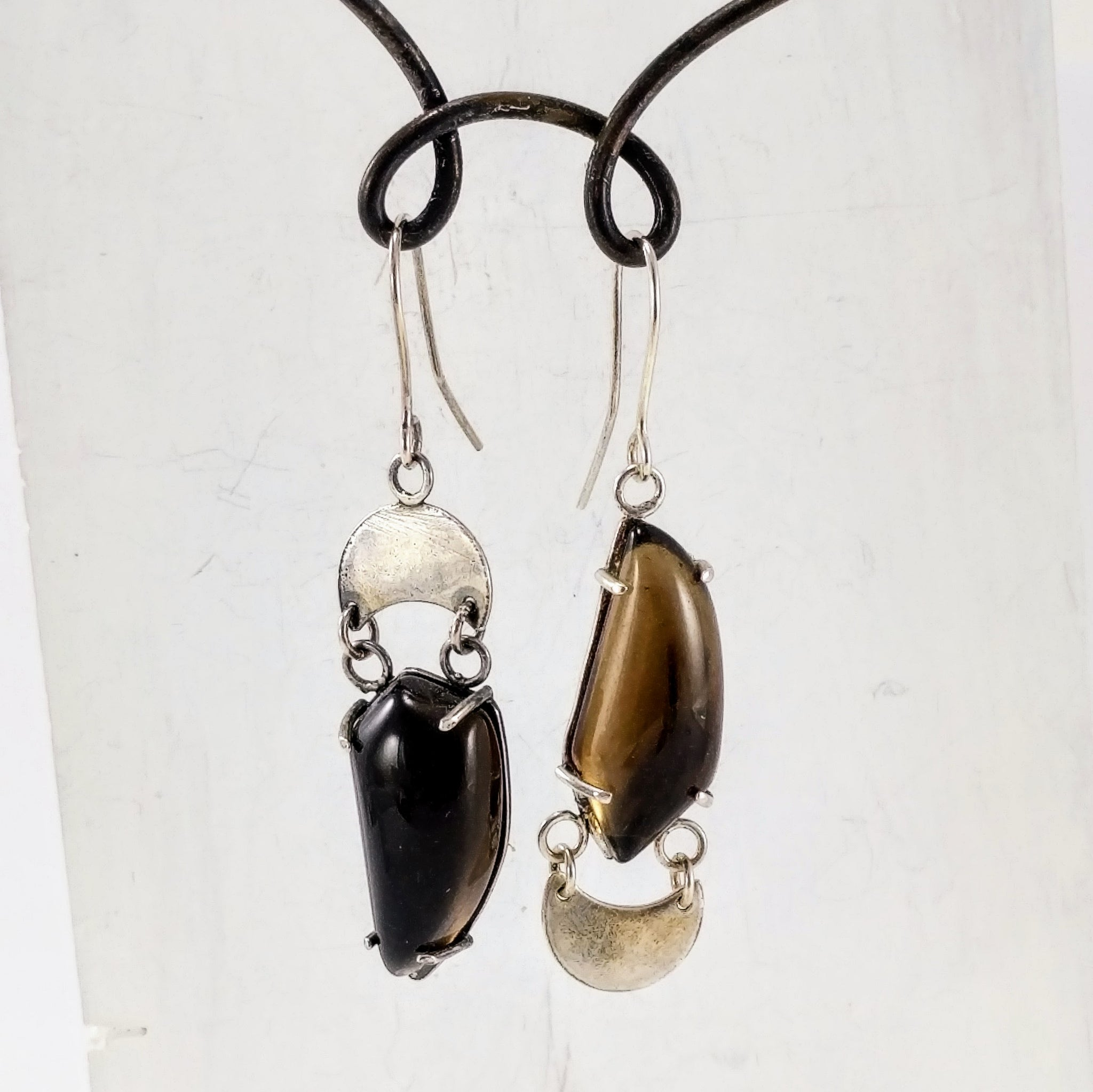 Celestial Phase Earrings with Smokey Quartz by Buster Collins