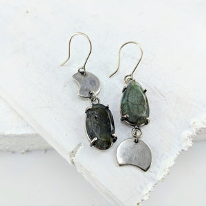 Celestial Phase Earrings with Labradorite by Buster Collins