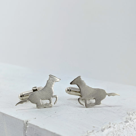 Wild Horse Cufflinks - Bright Silver by Buster Collins