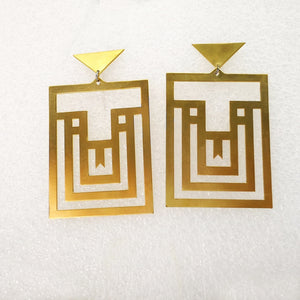 Amaze Maze Earrings in Brass by Banshee the Valkyrie.  Big Boss Bitch Earrings