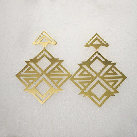 X-Box Earrings in brass by Banshee the Valkyrie