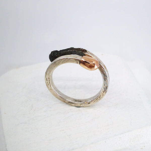 Side view of Burnt/Live Match Stick ring by David McLeod