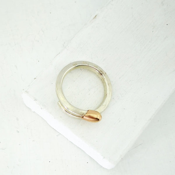 Match Stick Ring in Silver and 9ct rose gold by David McLeod