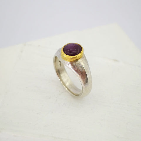 Ruby ring in silver and 22ct gold by David McLeod.
