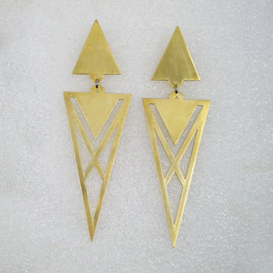 Dude Suit Earrings in Brass by Banshee The Valkyrie, Big Boss Bitch Earrings collection.