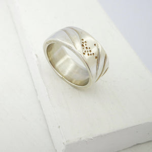Hills ring in solid silver by Emily Efford.