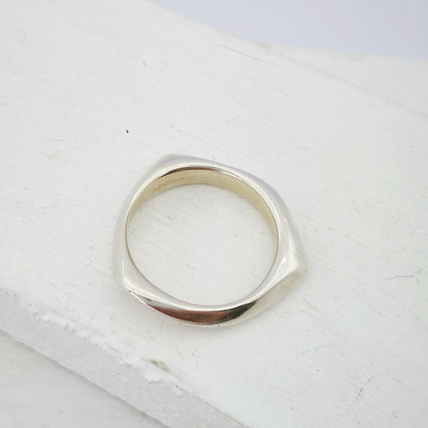 Irregular ring in silver by Emily Efford