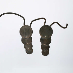 Conveyor Earrings in Oxidised Sterling Silver by Fran Carter