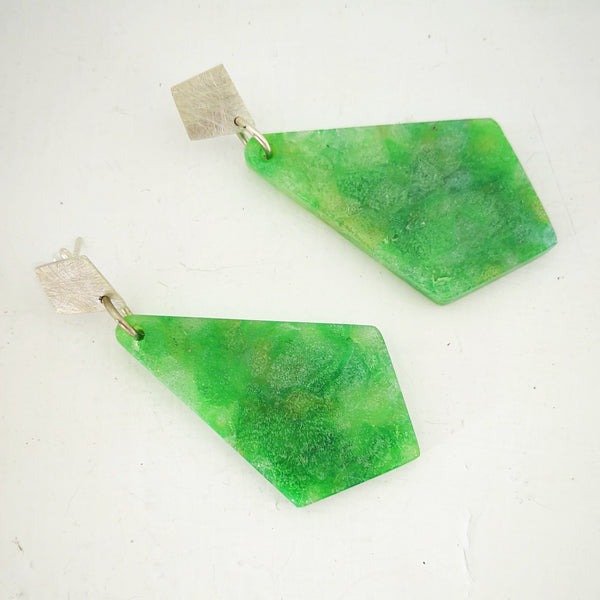 Minty Jade Diamond Earrings by Fran Carter Jewels. Long colourful diamond drops hang from small silver diamond studs.