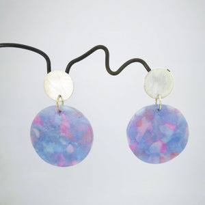 Ambrosia Disc earrings by Fran Carter.  Silver circle studs with colourful circles dangling.