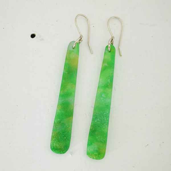Minty Jade Candy drop earrings by Fran Carter Jewels.  Long colourful earrings hang from sterling silver hooks.