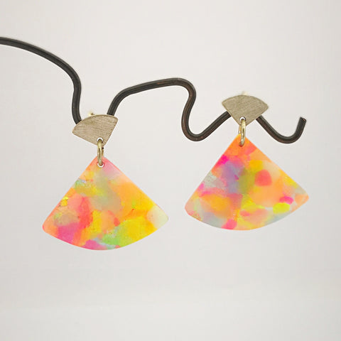 Tutti-Fruity short fan earrings by Fran Carter Jewels.  Colourful reconstituted plastic dangling from silver earring studs.
