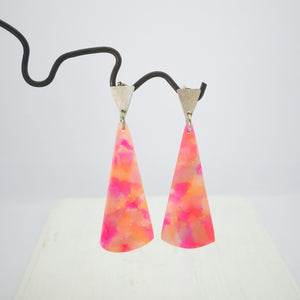 Watermelon Crush Fan Earrings by Fran Carter Jewels.  Long colourful fans hanging from silver triangle studs.